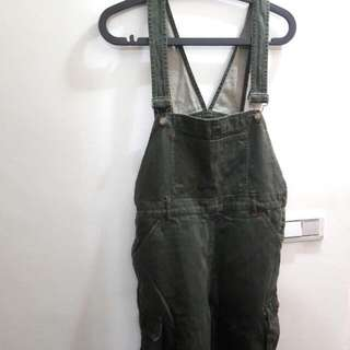 墨綠色吊帶寬褲