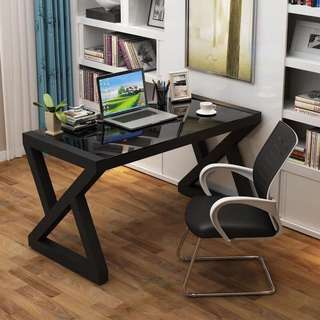 Office Table Computer Desk with Tempered Glass