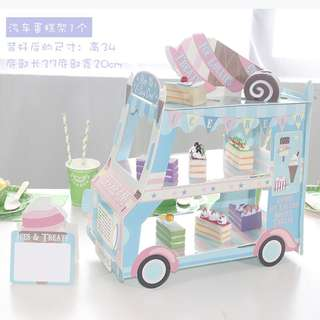 Instocks 3 layer bus birthday dessert stand