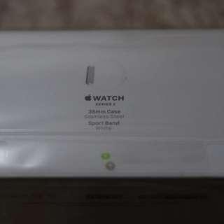 [全新未拆] Apple Watch Series 2 38mm Case STAINLESS STEEL Sport Band White