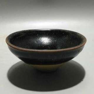 南宋烏金釉盞 寬9.5cm 高4cm 喝茶神器 古瓷