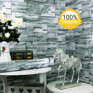 Grosir murah wallpaper sticker dinding indah batu alam silver