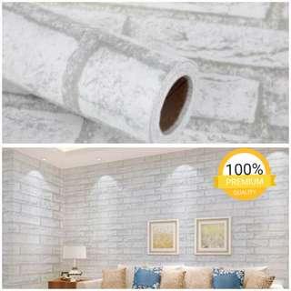 Grosir murah wallpaper sticker dinding indah batu bata putih garis abu abu