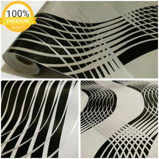 Grosir murah wallpaper sticker dinding indah garis silver hitam