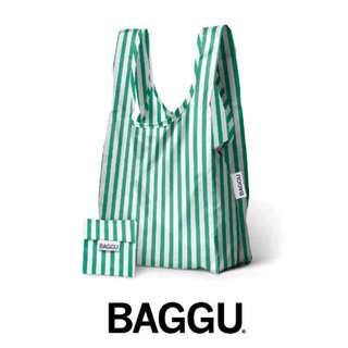 BAGGU美國環保袋品牌-綠白條紋