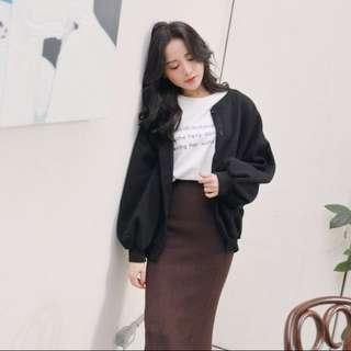 黑色 燈籠袖外套 罩衫