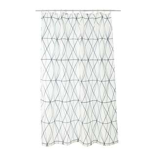 [IKEA] FÖLJAREN Shower curtain, white black, grey
