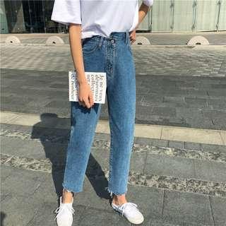 ▪️女裝▪️夏季刺绣復古不規則高腰顯瘦九分褲