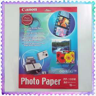 Canon A4 Glossy Photo Paper PP-100M 300gsm 15 sheets Water Resistant High Gloss