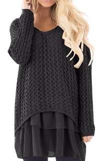 Pretty Woven pull over with chiffon detail fits up to uk16