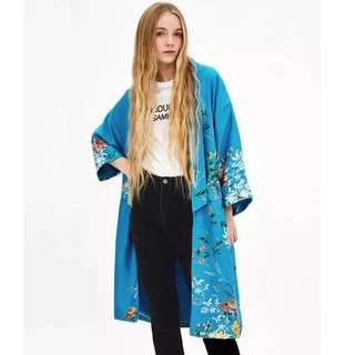 Women's leisure Aesthetic Flower Print Marca Blue Suit Collar Long Kimono Cardigan