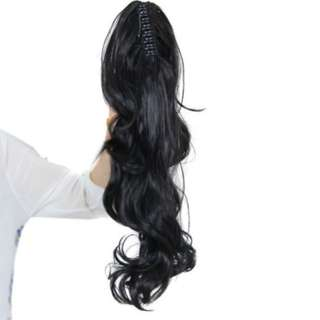 Black Hair Clip On Claw Jaw Ponytail