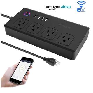 (Ready)Wifi Smart Power Strip Surge Protector with 4 USB Charging Ports and 4 Smart AC Plugs for Multi Outlets Power Socket Extension Cord, Voice Controlled by Amazon Echo & Google Home, Black