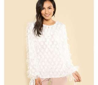 PO - Party Wear Knot Front Dot Jacquard Fringe Top Solid White Long Sleeve Womens TOP