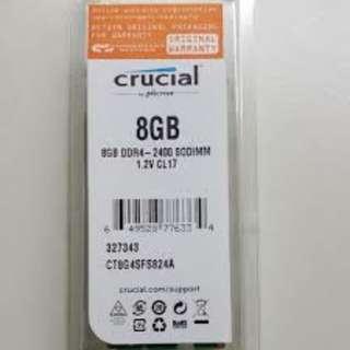 Crucial Ram 8GB DDR4 2400Mhz