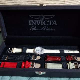 INVICTA Special Edition 5 Genuine Leather Strap Watch For Women