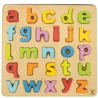 Large wooden lower case puzzle