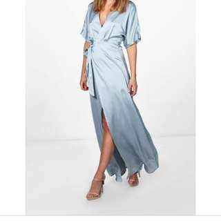 Satin Blue Wrap Dress BNWT
