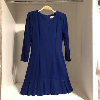 正韓🇰🇷二手·寶藍毛尼洋裝