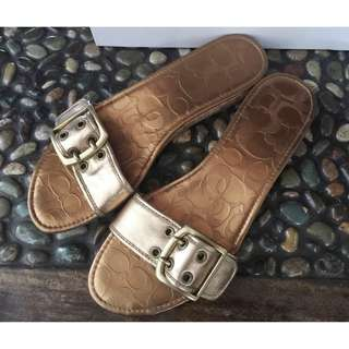 Selling low! Coach Leanne Calf Leather slip ons signature sandals size 9