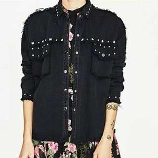 Zara black denim studded jacket