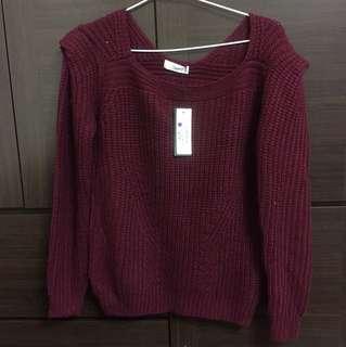 韓版墊肩袖純色坑紋暗紅針織毛衣