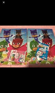 Instock pj mask A4 Coloring And sticker book set w crayon Brand New