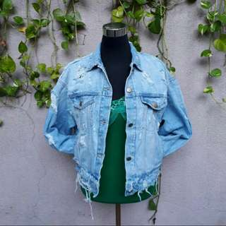 Zara retro style tattered denim jacket