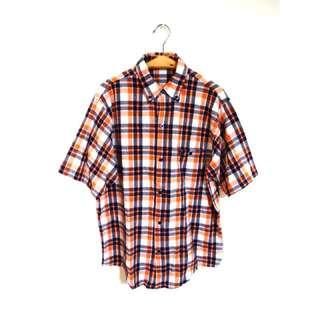 Kedi 小舖  GIOVANNI VALENTINO 義大利 童裝 橘色系 格子短袖襯衫