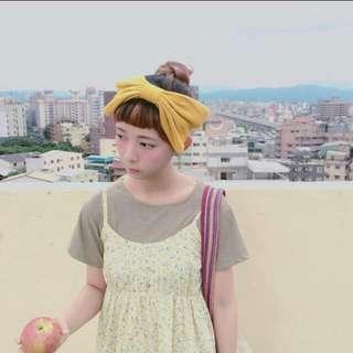日本芥末黃蝴蝶結髮帶