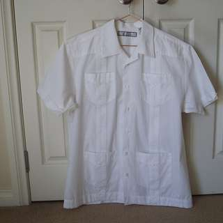 Monte Carlo Formal Pleated Ruffle WHITE Button-Front Short Sleeve Men's Shirt-L