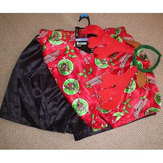 Men's Xmas boxer shorts set. (Size : L)