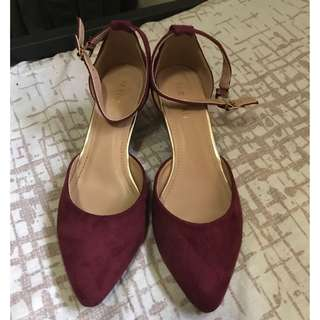 Maroon Pointed Heels Suede Ankle strap wedge