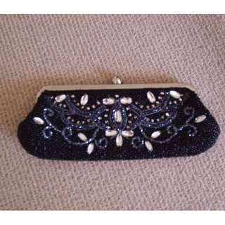 Black Beaded and Dimontees Clutch Purse