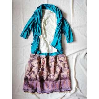 百貨專櫃品牌bear two(B2)咖啡混紫色民族風特別圖騰及膝裙短裙裙子