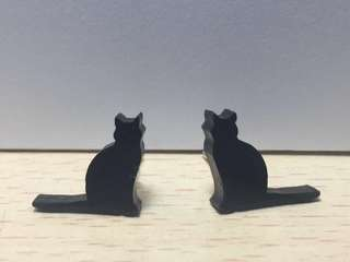 Cute Cat Black Acrylic Earrings - Acrylic Ear Studs