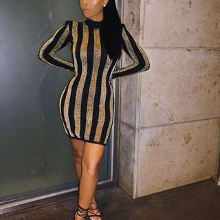 Balmain Paris inspired black gold dress