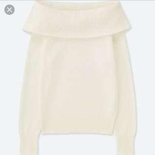 Uniqlo White Off The Shoulder Sweater