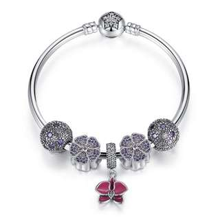 925 sterling silver bangle bracelet with beads & charms