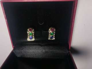 14k Gold Earrings with Diamonds and Precious Stones