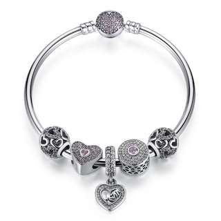 Gift for mom!!! 925 sterling silver bangle bracelet with charms, beads and dangle
