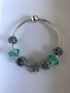 925 sterling silver charm bangle with charms and murano glass beads