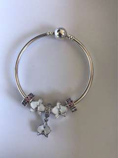 925 sterling silver charm bangle with charms, beads and dangle