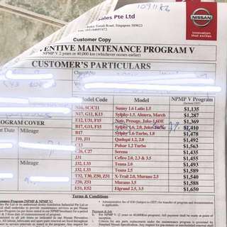 TAN CHONG MOTOR SERVICING PROGRAMME ONLY FOR NISSAN SYLPHY 1.6, 2.0 & JUKE