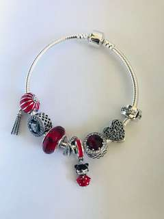 925 sterling silver bracelet with cubic zirconia charms, beads and dangle