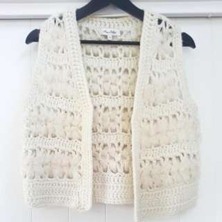 Miss Shop crochet fur vest