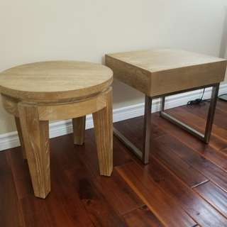 Solid Wood End Table Set