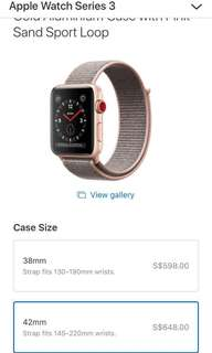 Iwatch 42nn  latest BN - series 3 cellular (Gold Aluminium Case with Pink Sand Sport Loop)Original price from Apple is $648.00.