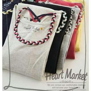日本heart market 黑色編織吊帶打底衫 Tee T