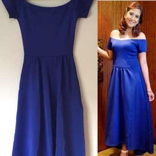 Details Blue Midi Dress